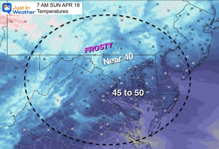 April 17 weather temperatures Sunday morning