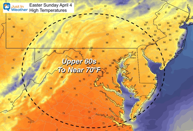April 4 weather Easter Sunday temperatures afternoon