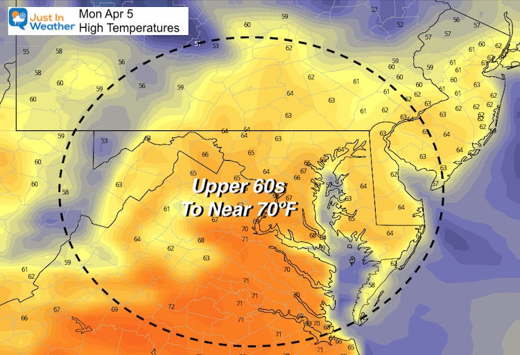 April 4 weather Monday temperatures afternoon
