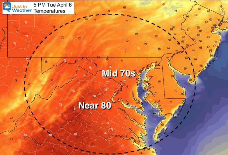 April 6 weather temperatures afternoon