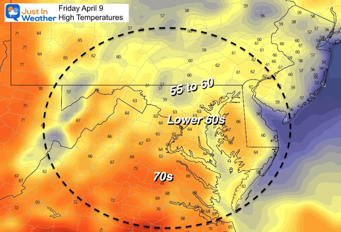 April 9 weather temperatures Friday afternoon