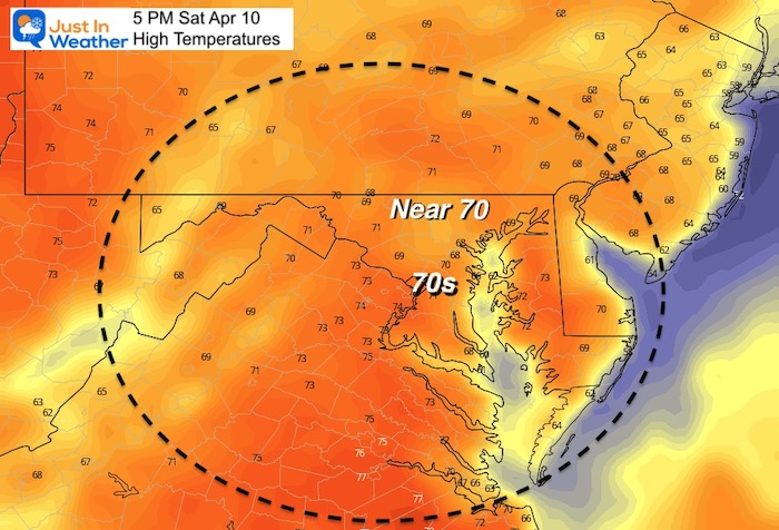 April 9 weather temperatures Saturday afternoon